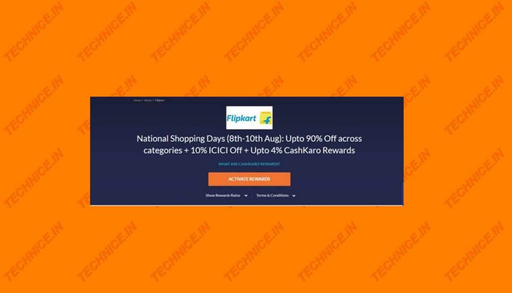 Cashkaro Flipkart National Shopping Days cashback Offers