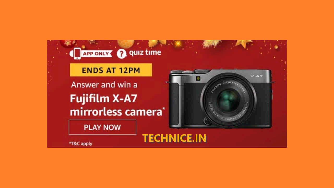 Amazon Fujifilm X-A7 Mirrorless Camera Quiz Answers Win Camera Free