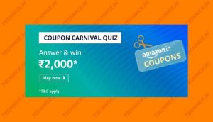 Amazon Coupon Carnival Quiz Answers Win Rs 2000