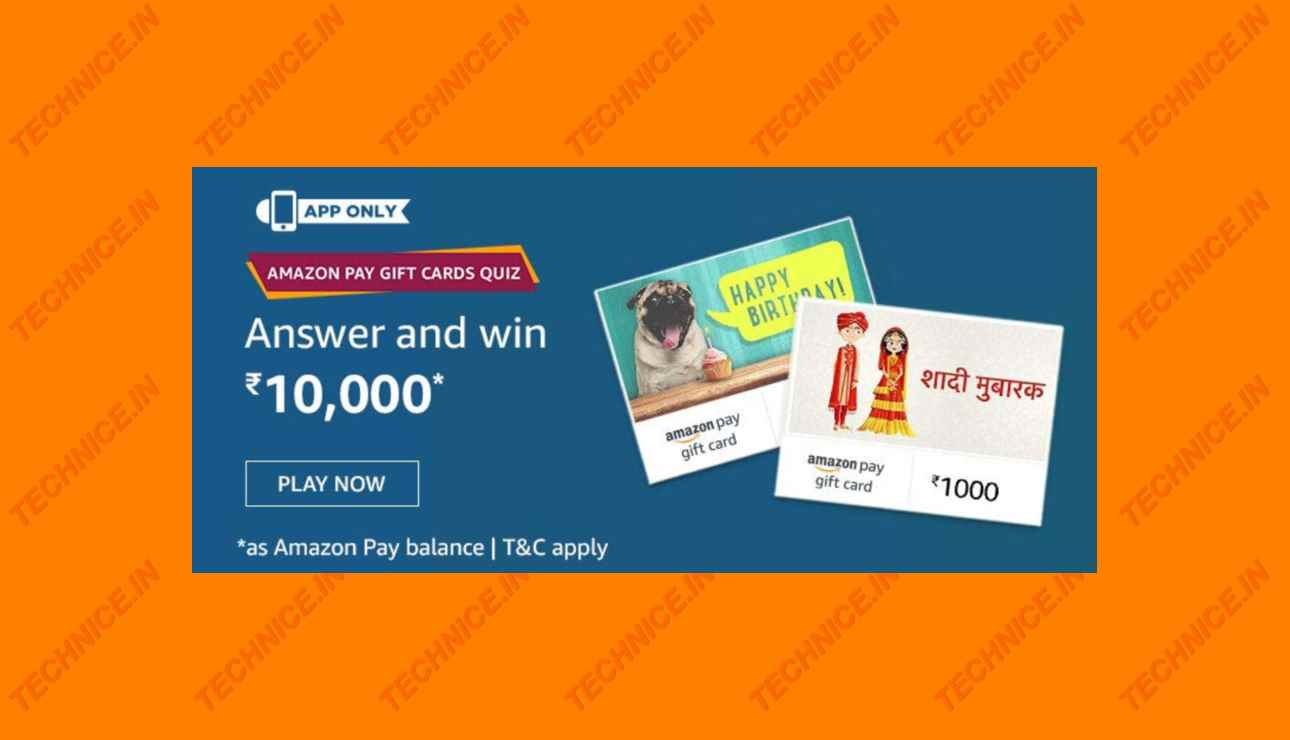 Amazon Pay Gift Cards Quiz Answers Win Rs 10000