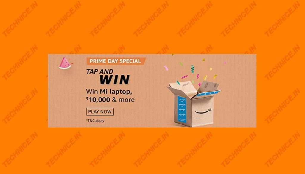Amazon Prime Day Special Tap And Win Answers Win Mi Laptop, Rs 10000