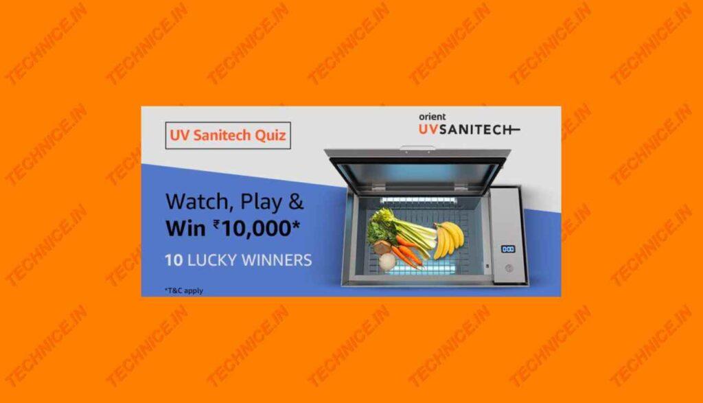 Amazon UV Sanitech Quiz Answers Win Rs 10000