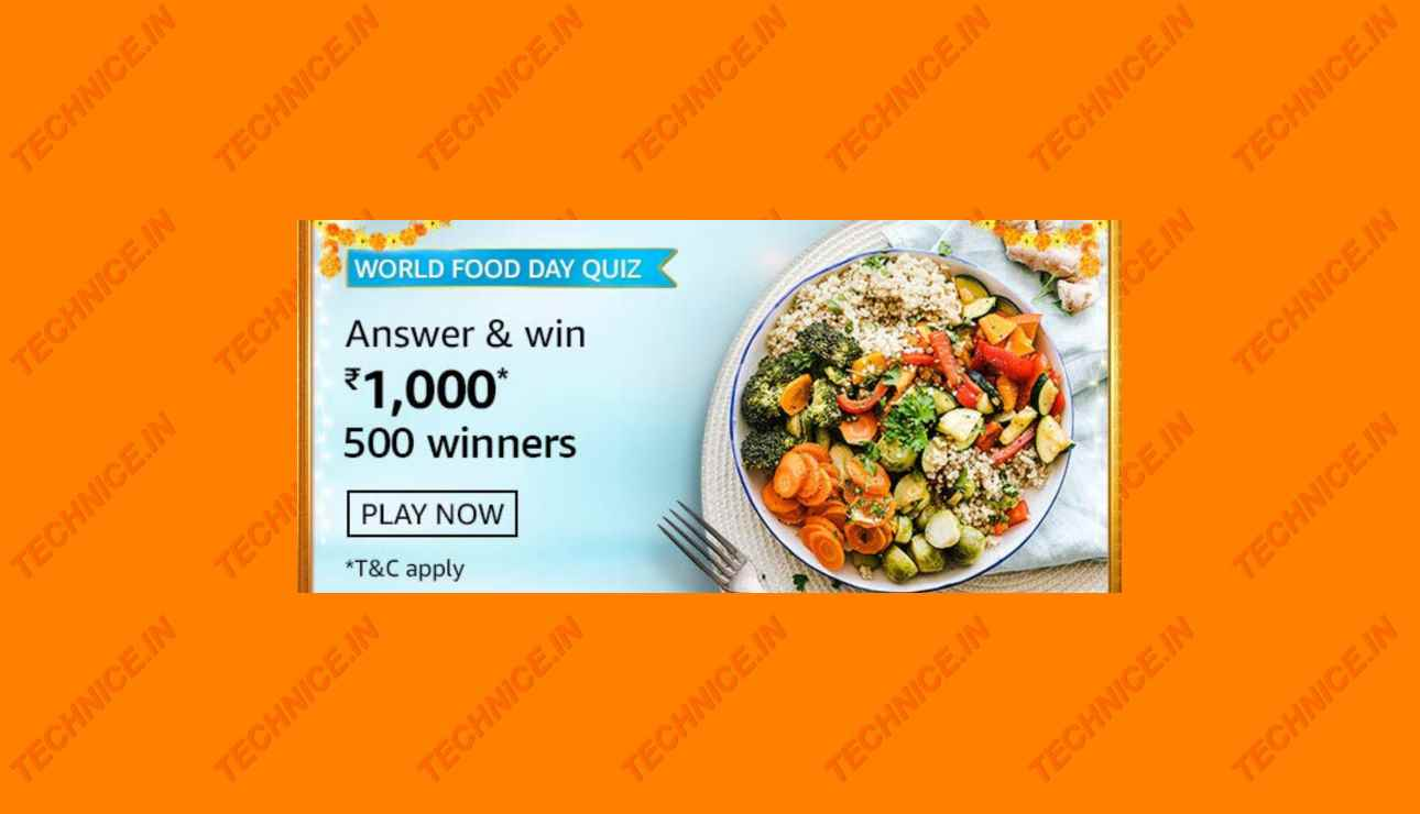 Amazon World Food Day Quiz Answers Win Rs 1000
